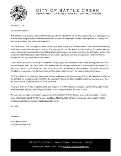 Water Division letter regarding lead and copper