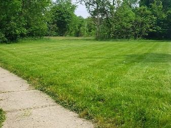 Grassy, empty lot with a sidewalk at the lower left corner