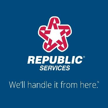 Republic Services logo with blue background