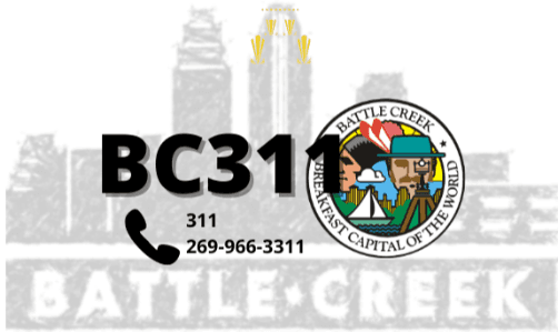 BC311 text over Battle Creek skyline with city logo