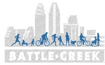 Non-Motorized Transportation Plan graphic with Battle Creek skyline